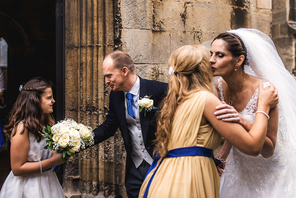 kisses outside church