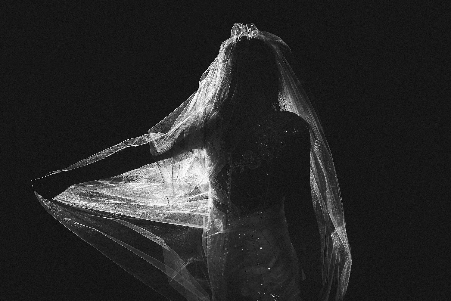 wedding veil caught in sunlight