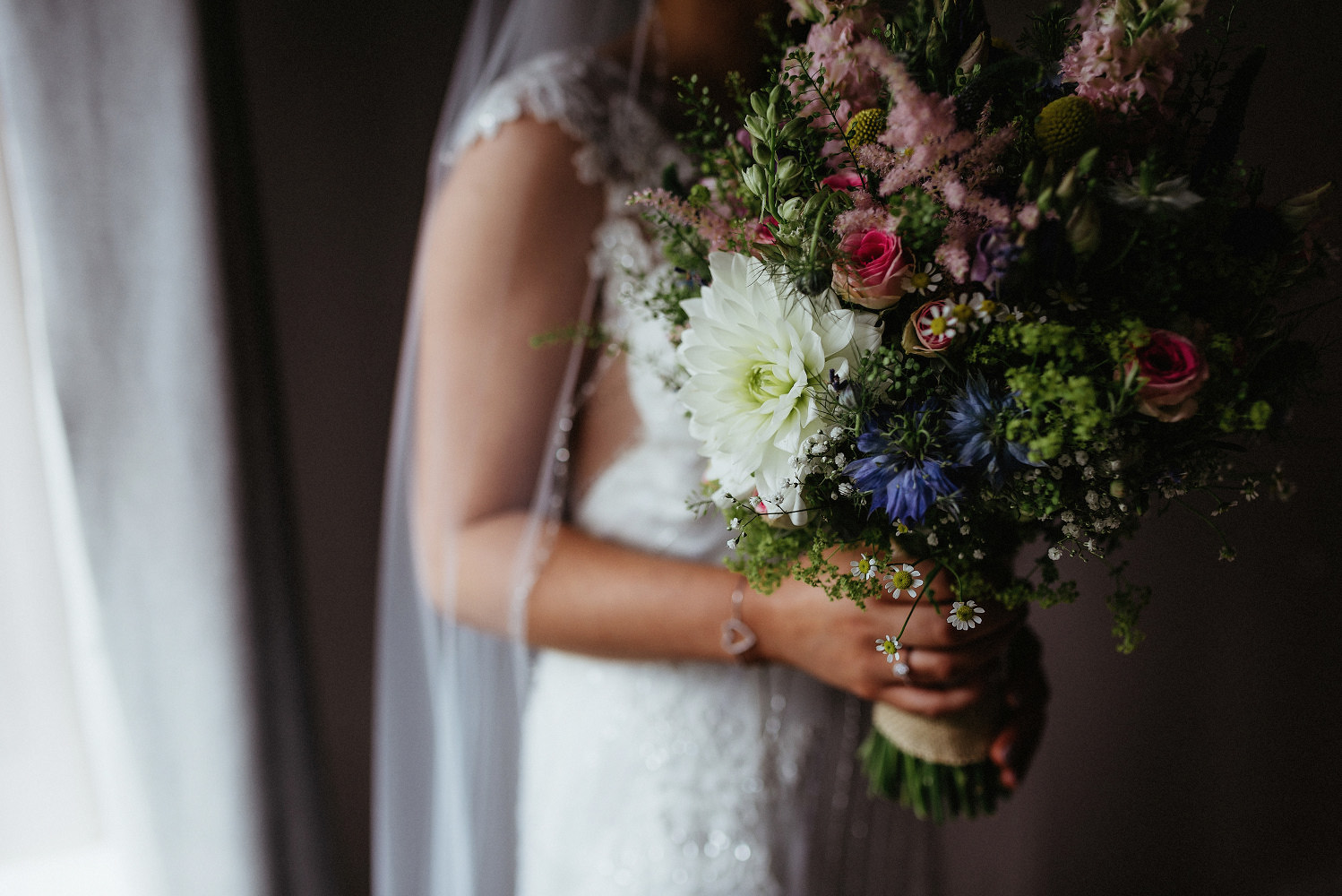 bridal portrait with flowers