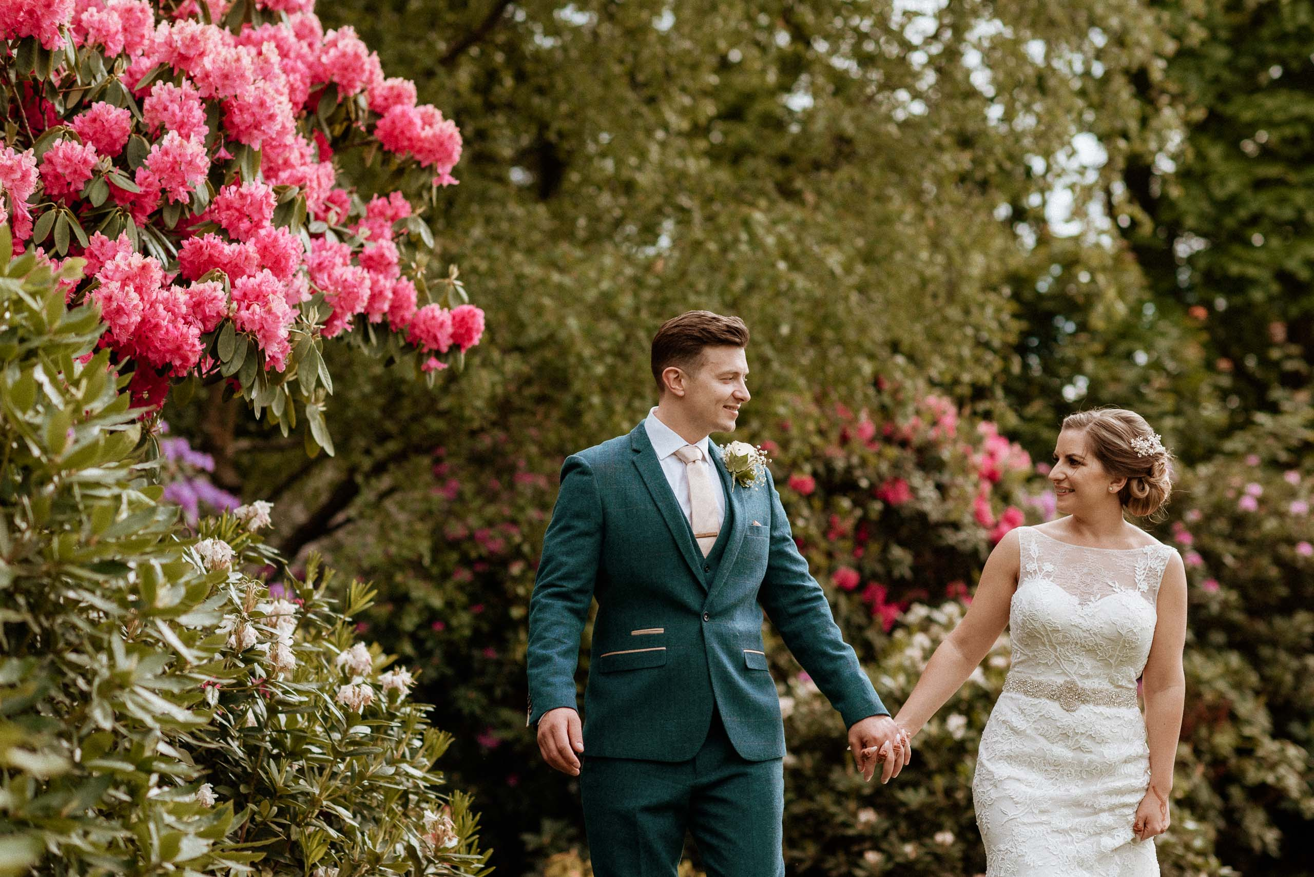 natural and relaxed bride and groom portrait