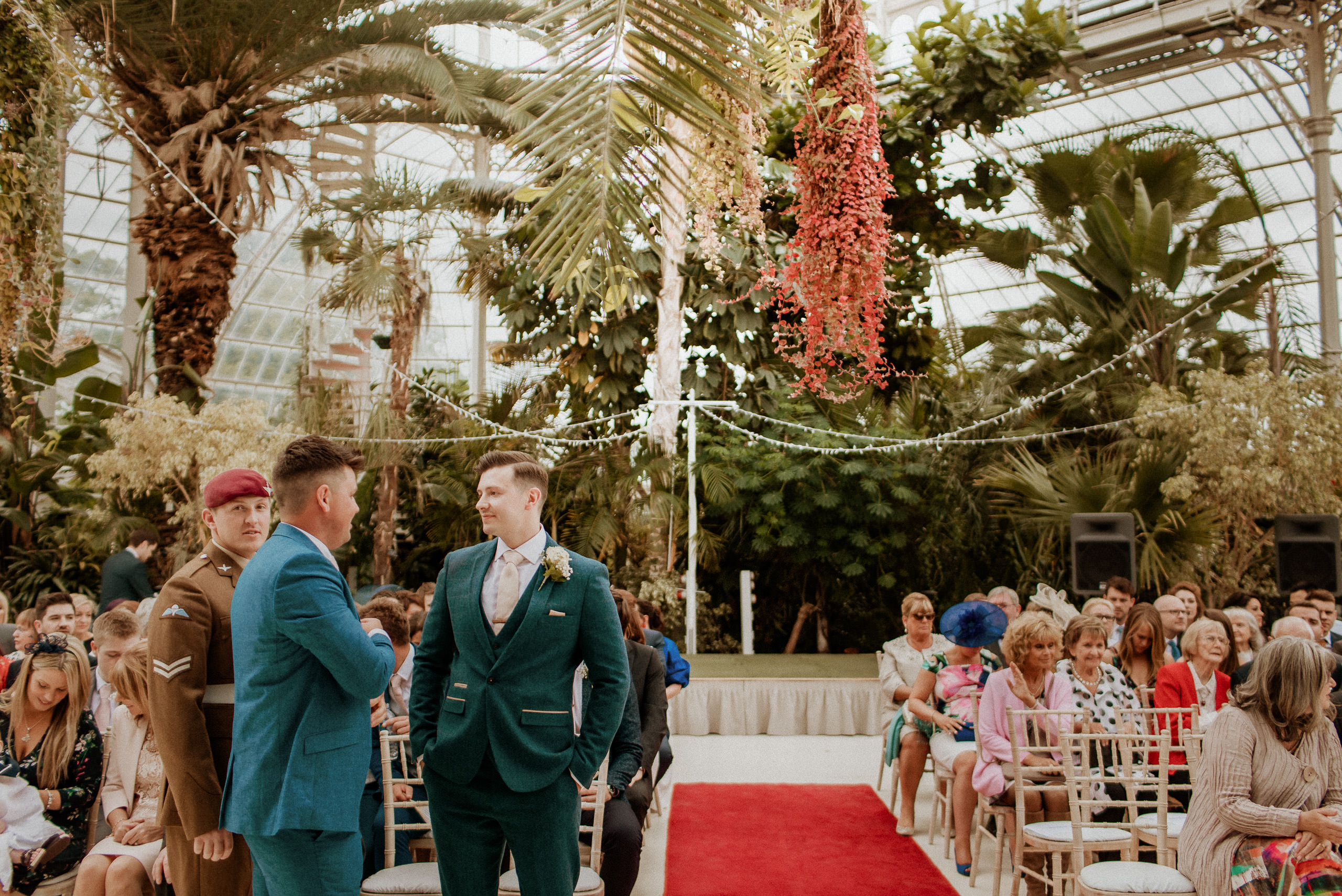 inside the Sefton palm house as groom waits to get married