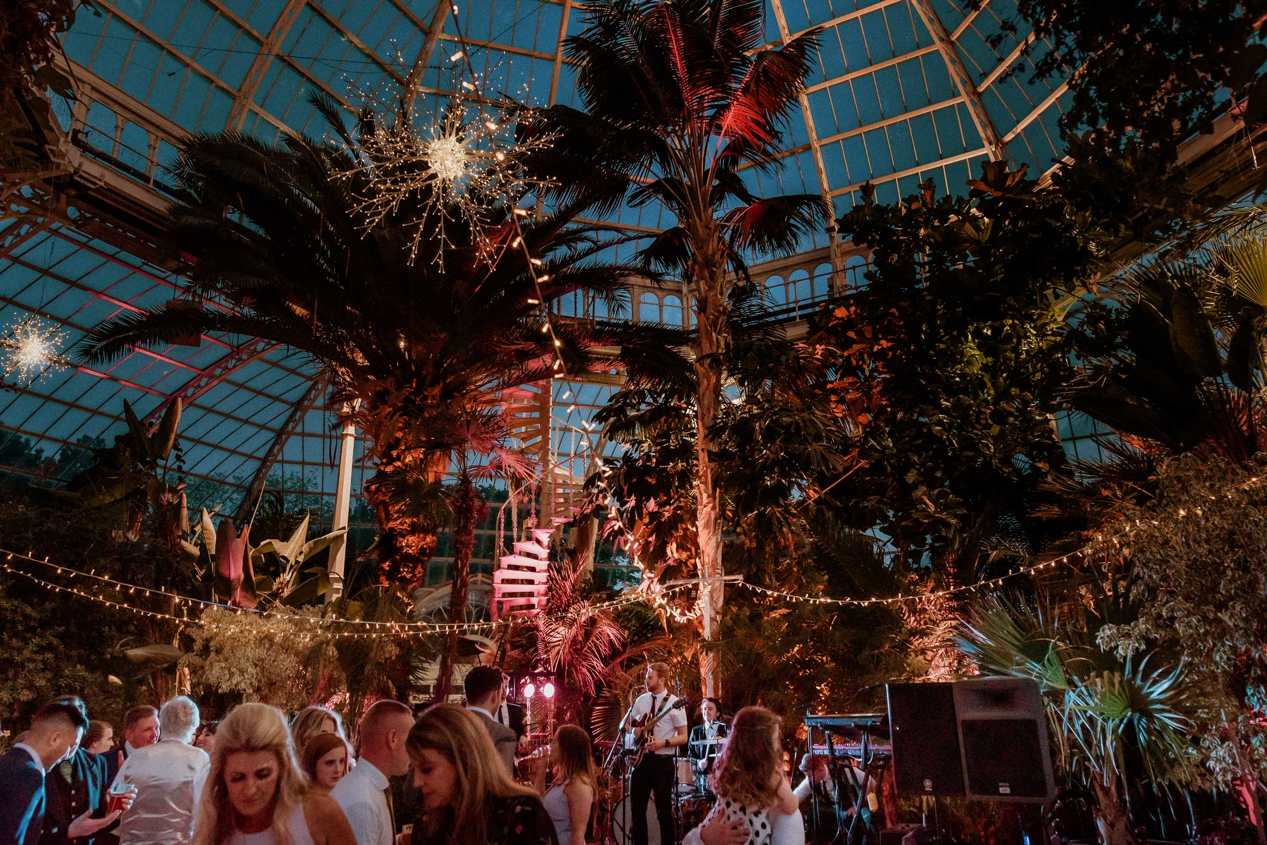 night time lighting inside the palm house as band plays on stage
