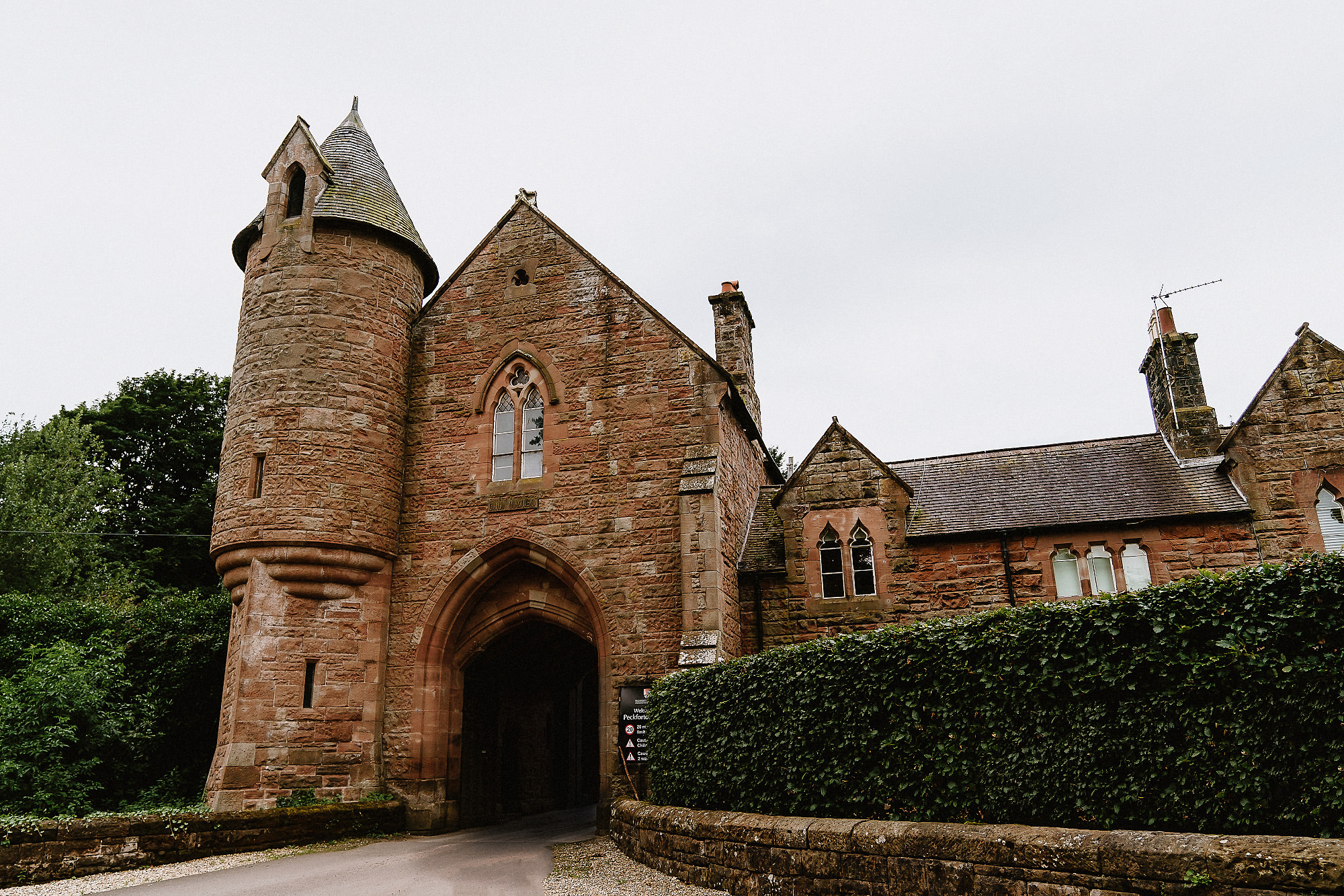 the stone gatehouse at Peckforton Castle