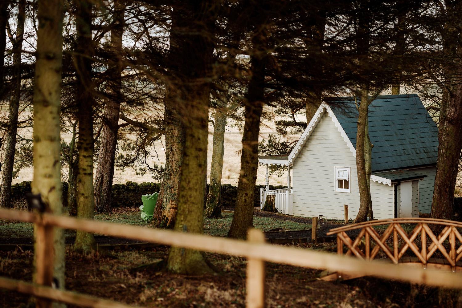 a hidden cottage amongst trees