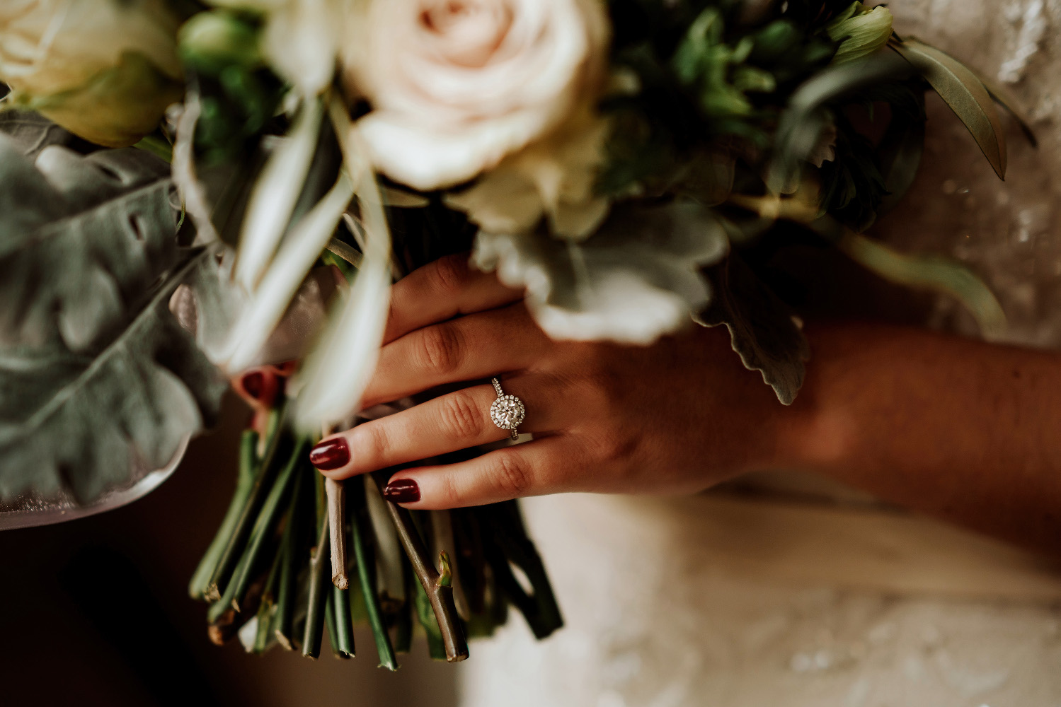 the wedding ring and bridal bouquet