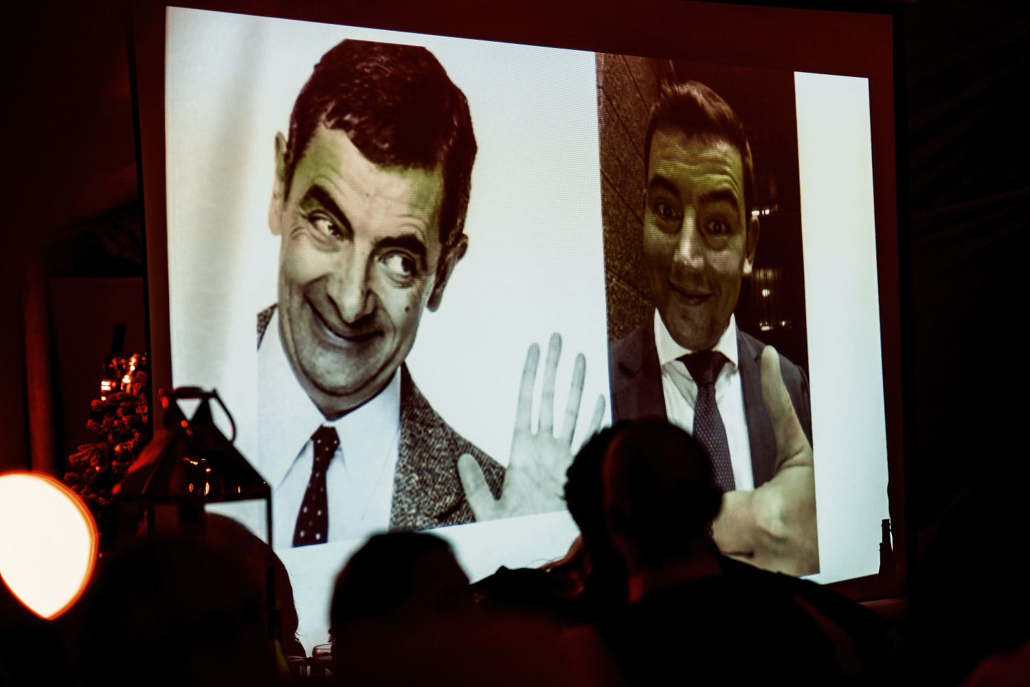 overhead projector with image of Mr Bean and the groom