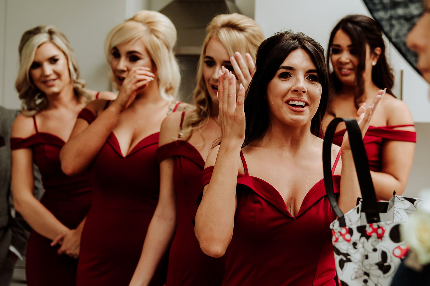 bridesmaids crying happy