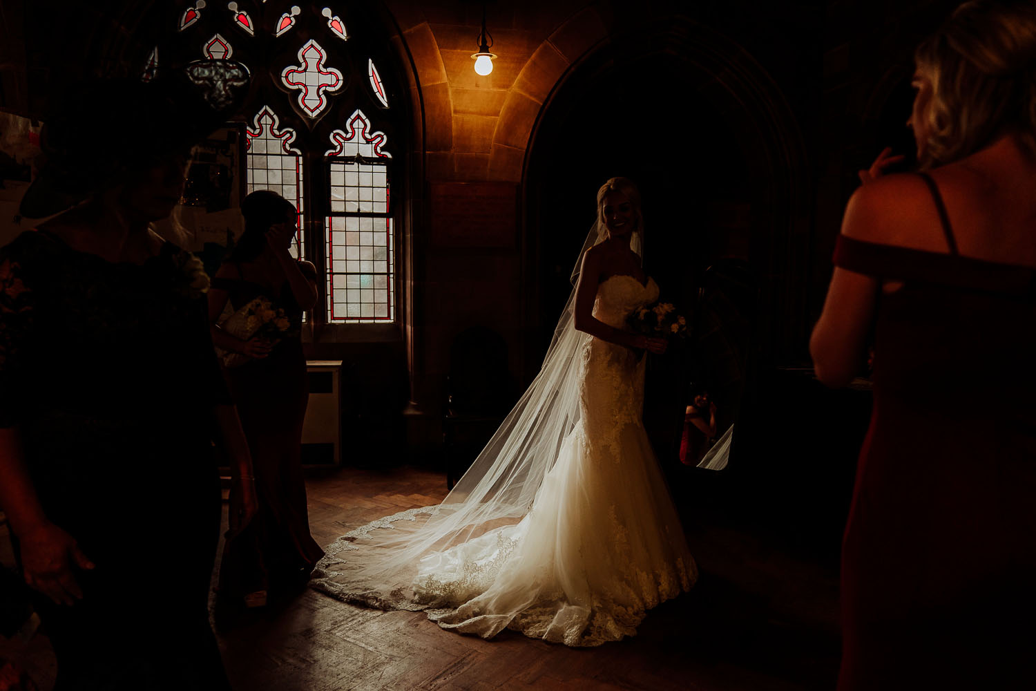 wedding dress in church