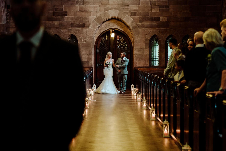 bride and dad enter ceremony