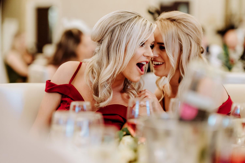 beautiful bridesmaids red dresses