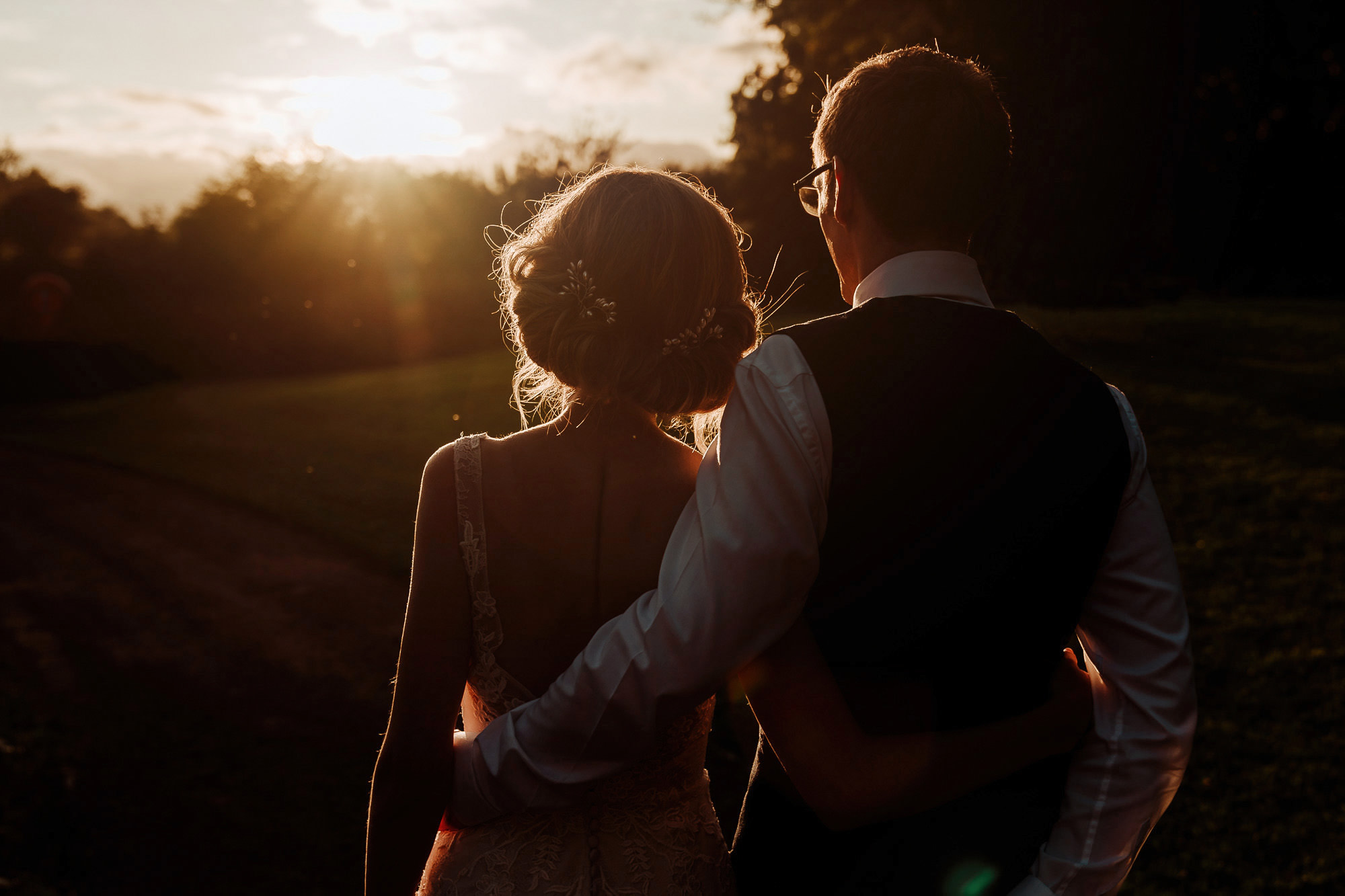 A beautiful sunset at Llanerch Vineyard Wedding Photography