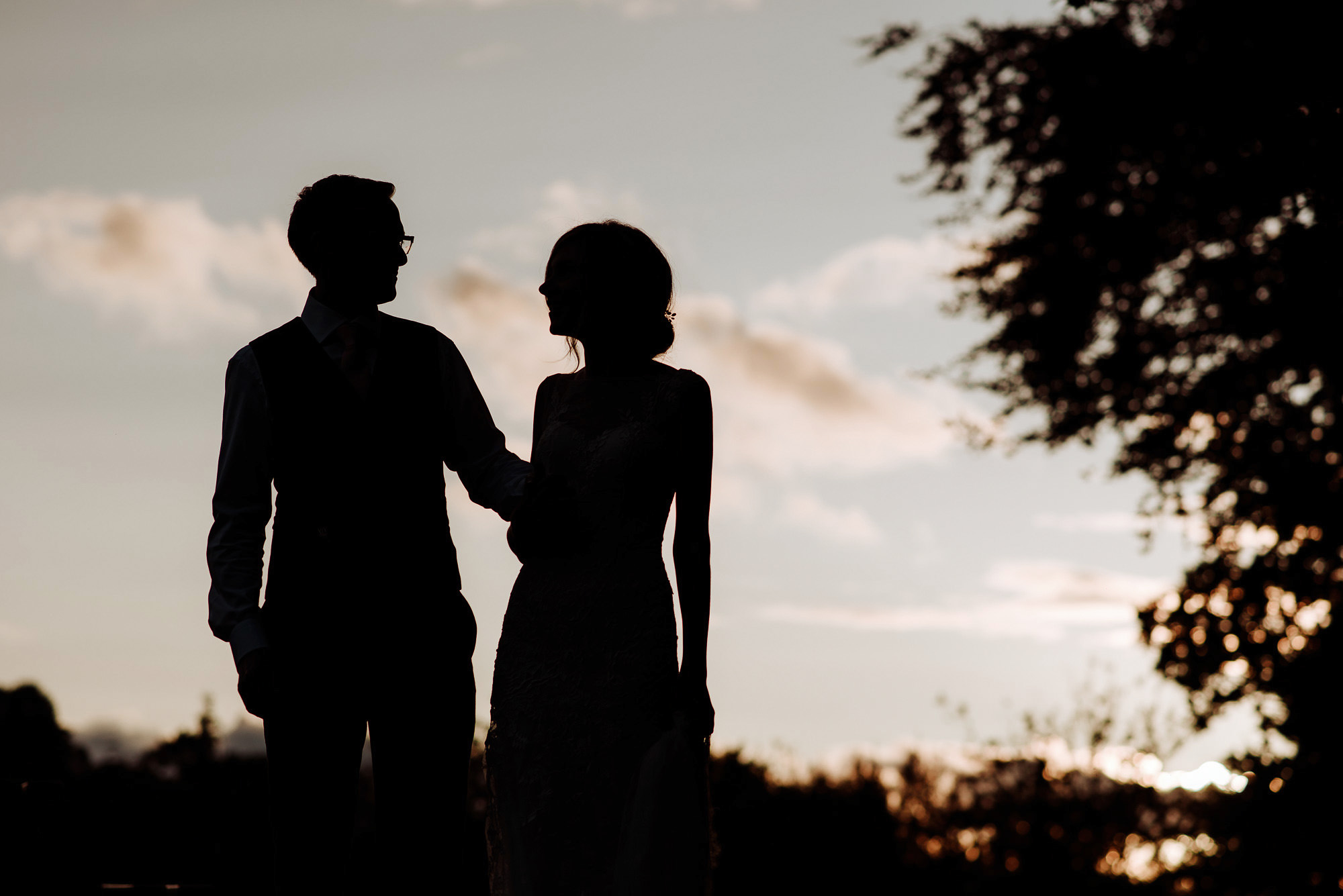 silhouette of newlyweds near tree