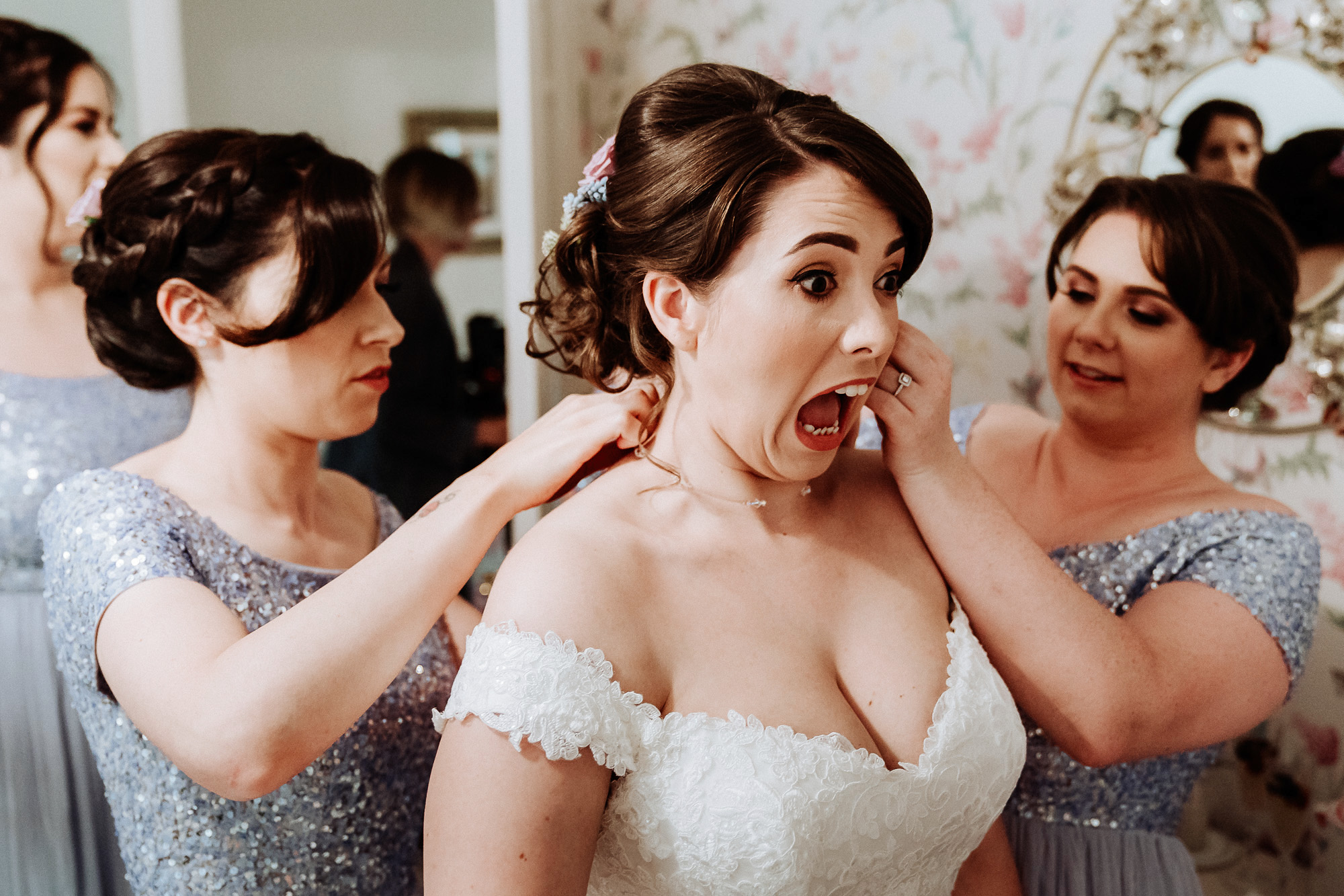 bride yelling when earrings put in