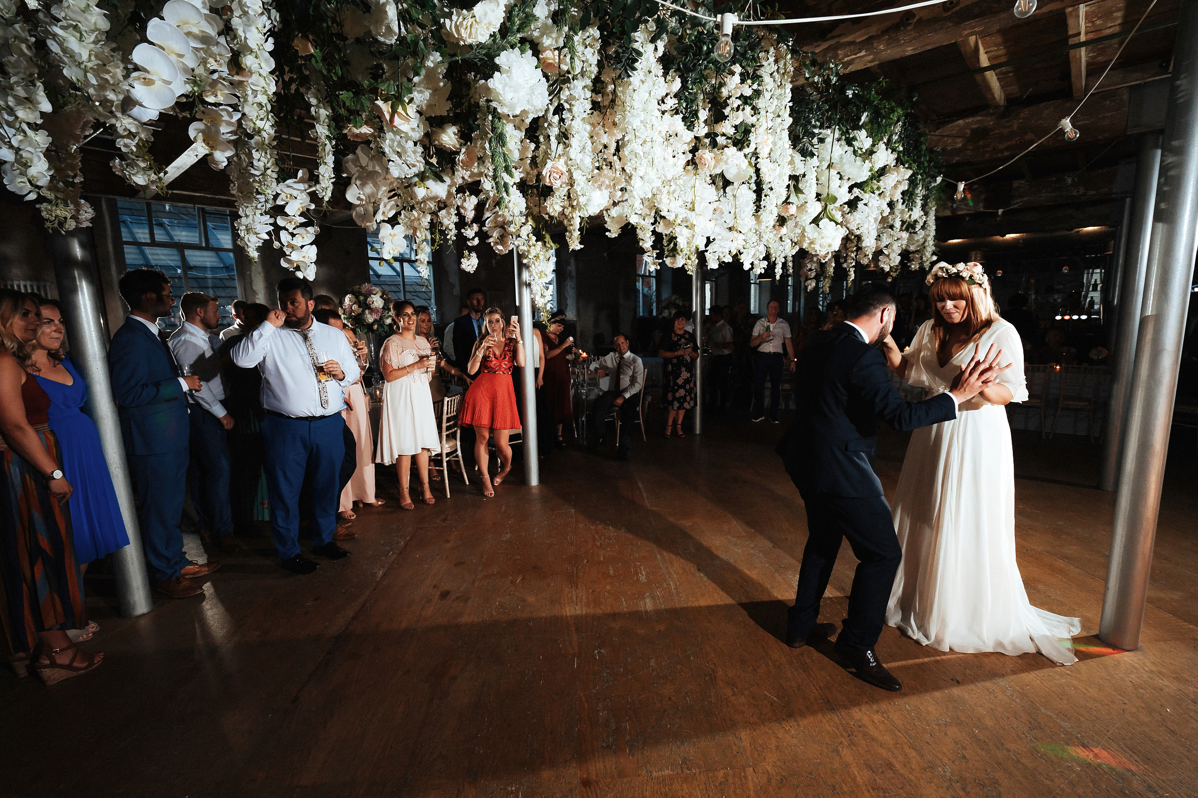bride and groom first dance at Holmes Mill