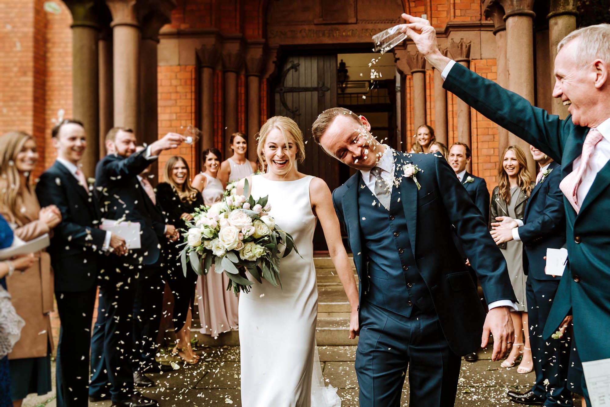 confetti all over the groom