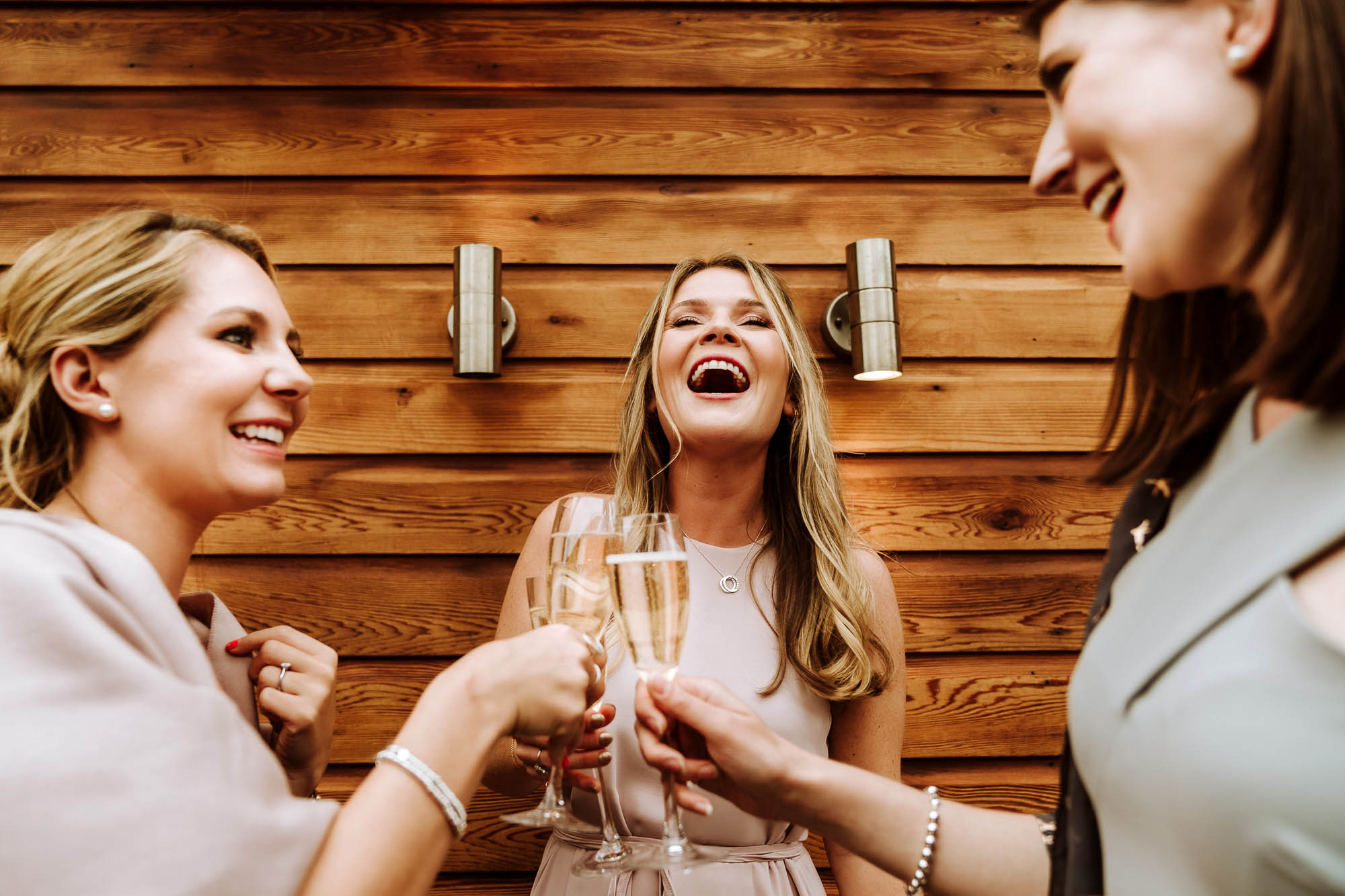 happy female wedding guests