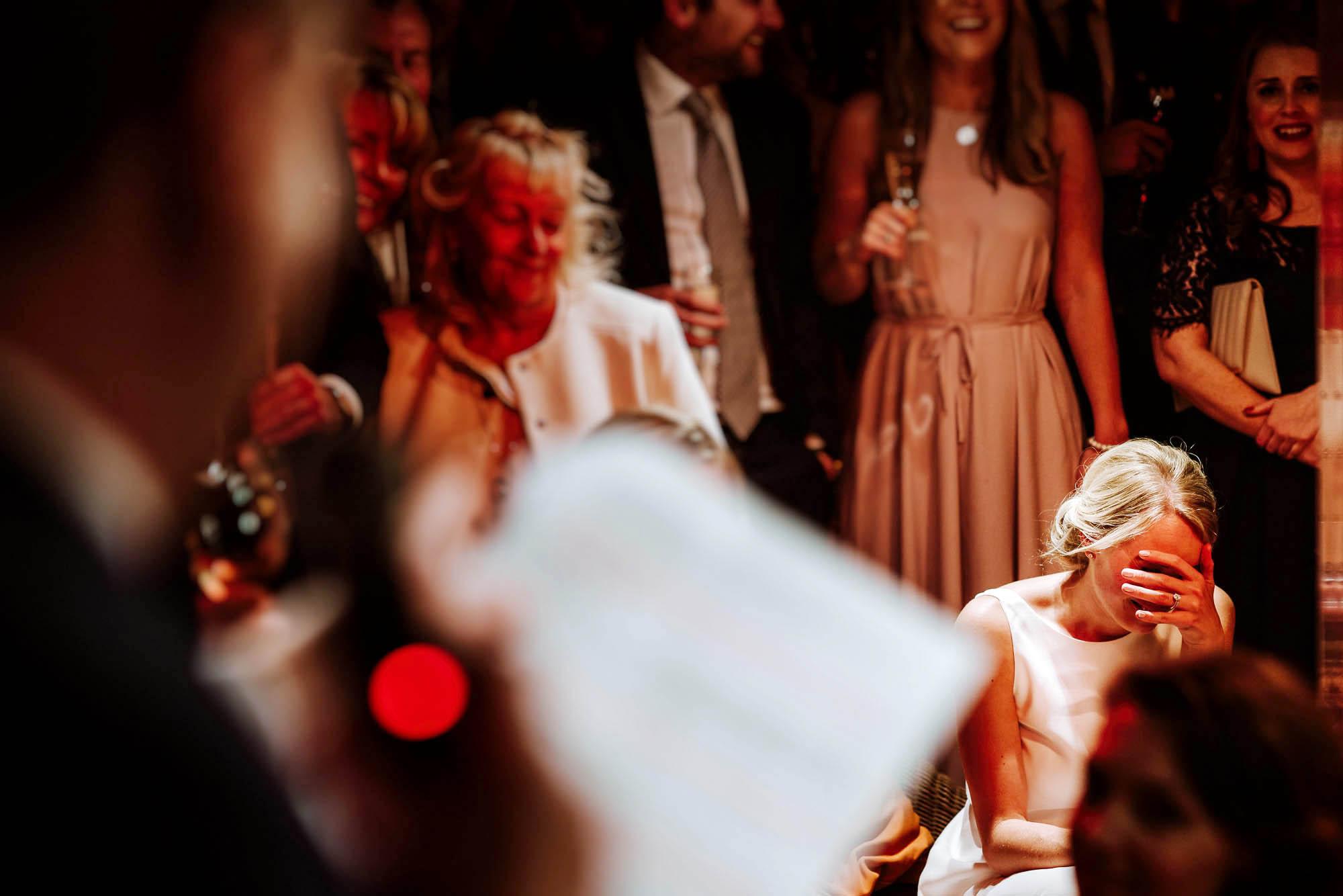 bride cringing
