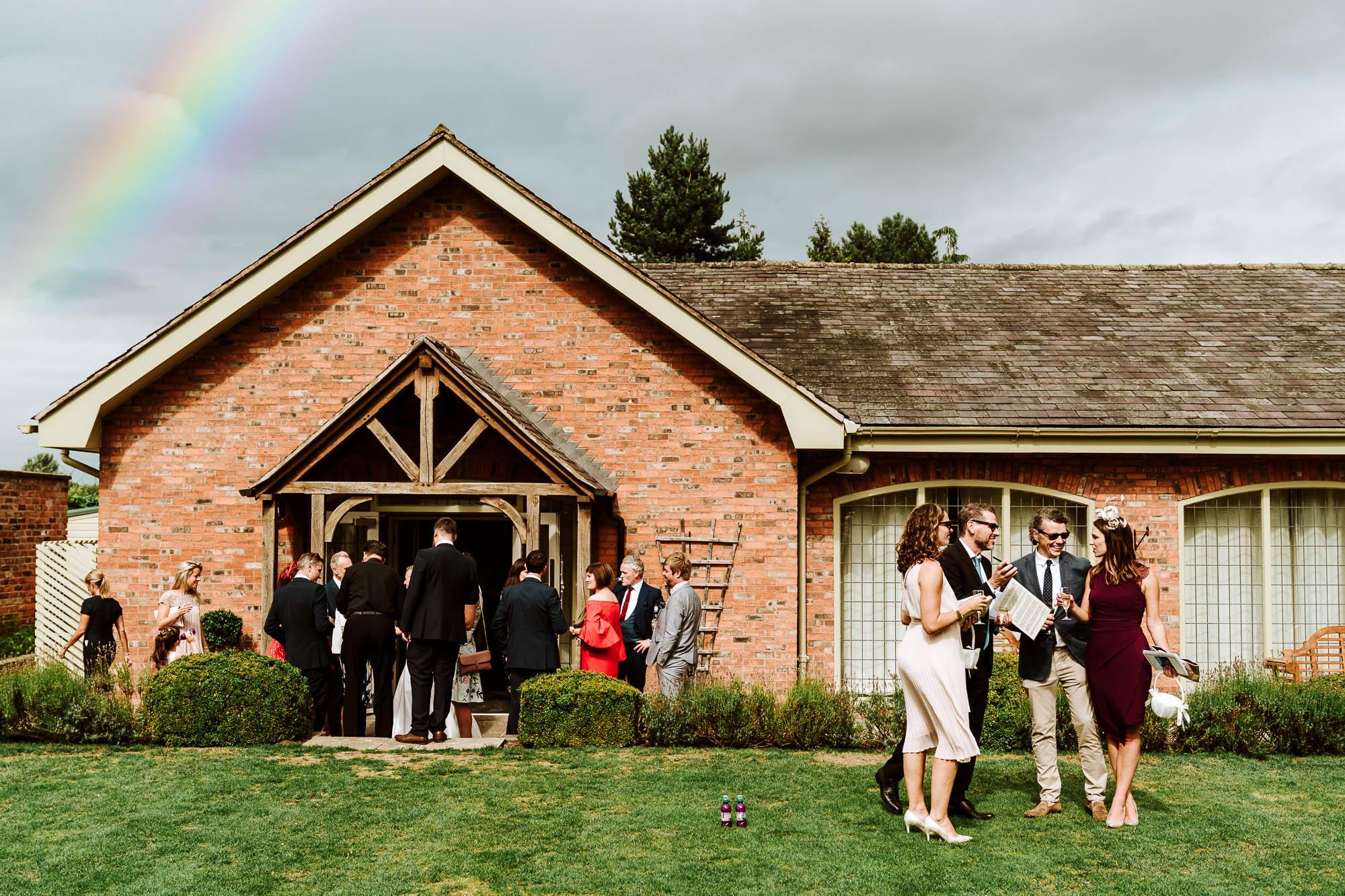 rainbow over colshaw hall wedding