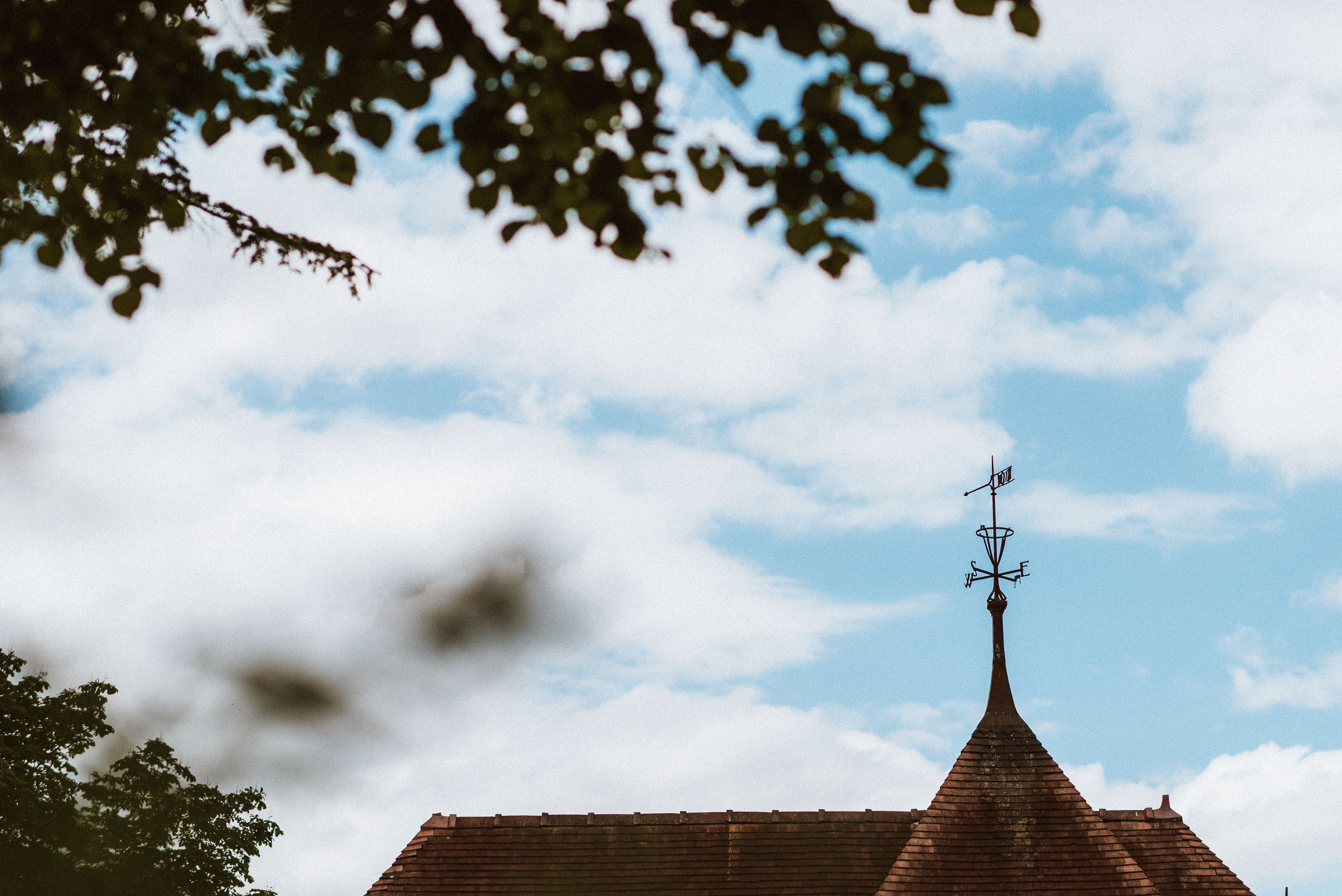 The roof of mere Court framed by leaves